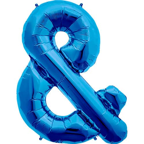 Blue Ampersand Foil Helium Balloon 86cm / 34Inch Product Image