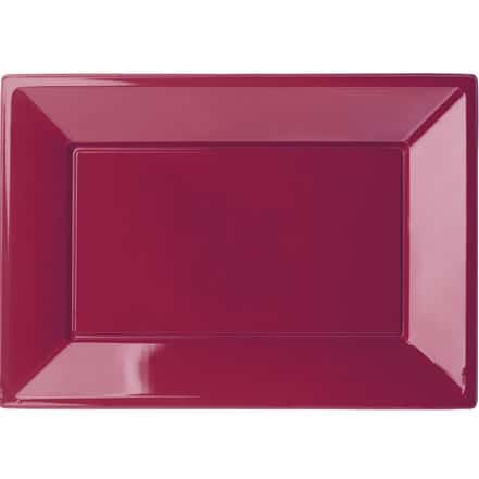 burgundy-rectangular-plastic-serving-tray-32cm-x-23cm-  sc 1 st  Partyrama & Burgundy Rectangular Serving Tray 32cm x 23cm Pack 2 | Partyrama