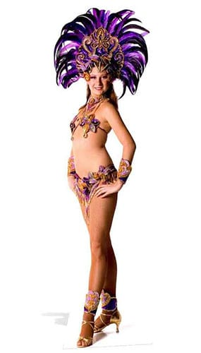 Carnival Purple Peacock Babe Lifesize Cardboard Cutout - 194cm Product Gallery Image