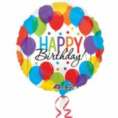 Happy Birthday Balloons Round Foil Helium Balloon 43cm 17Inch