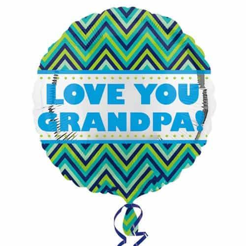 Love You Grandpa Round Foil Helium Balloon 43cm / 17Inch