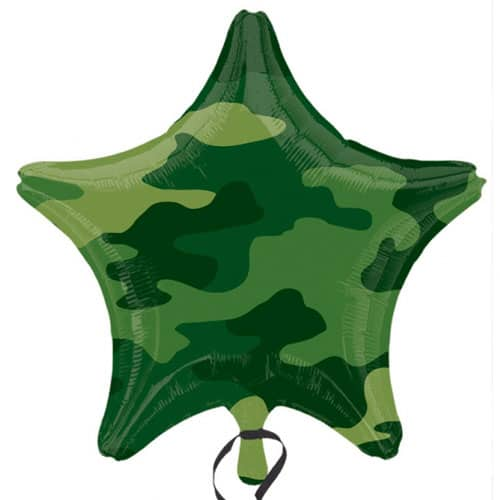 Camouflage Star Shaped Foil Helium Balloon 48cm / 19Inch