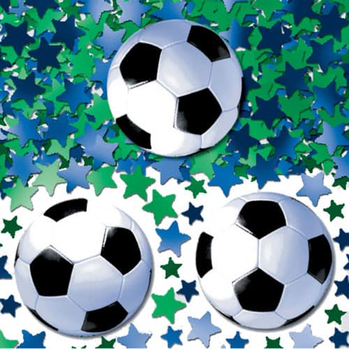 Footballs With Blue And Green Stars Table Confetti - 14Grams