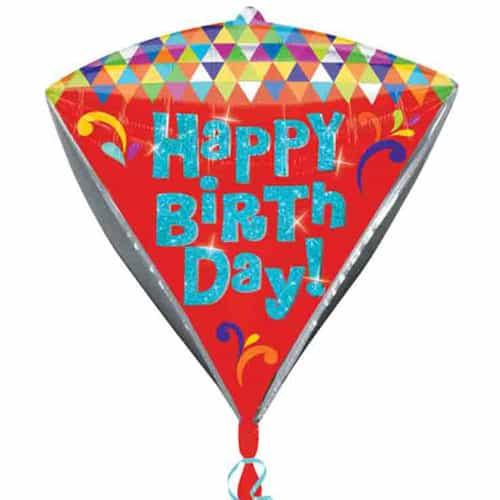 Happy Birthday Diamond Shape Foil Helium Balloon 43cm / 17Inch