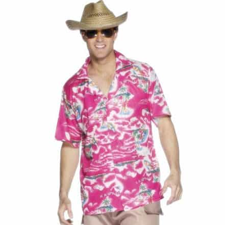Pink Hawaiian Shirt Adult Medium Mens Fancy Dress