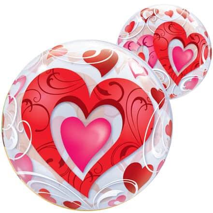 Red Hearts Bubble Qualatex Balloon - 56cm