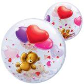Teddy Bear Heart Bubble Qualatex Balloon – 56cm
