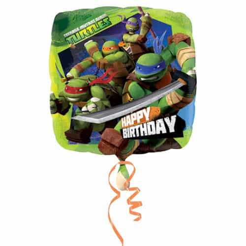 Teenage Mutant Ninja Turtles Happy Birthday Square Foil Helium Balloon 43cm / 17Inch