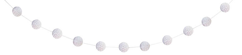 White Honeycomb Ball Garland - 213cm