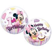 Minnie Mouse 1st Birthday Bubble Qualatex Balloon – 22 Inches / 56cm