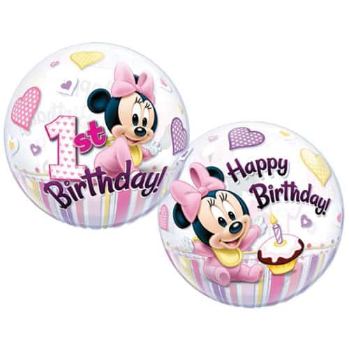 Minnie Mouse 1st Birthday Bubble Helium Qualatex Balloon 56cm / 22 in