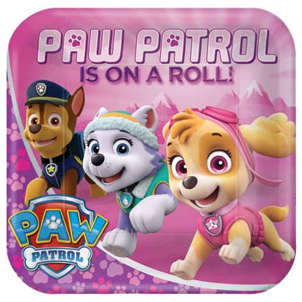 Paw Patrol Pink Square Paper Plates 23cm - Pack of 8