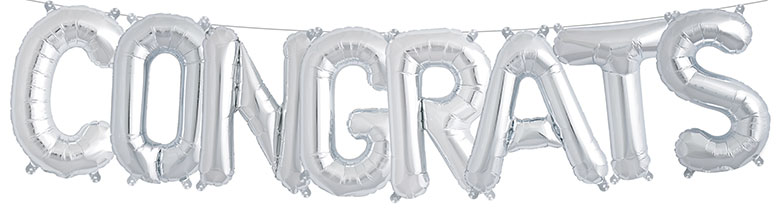 Silver CONGRATULATIONS Air Fill Foil Balloon Kit 41cm / 16Inch