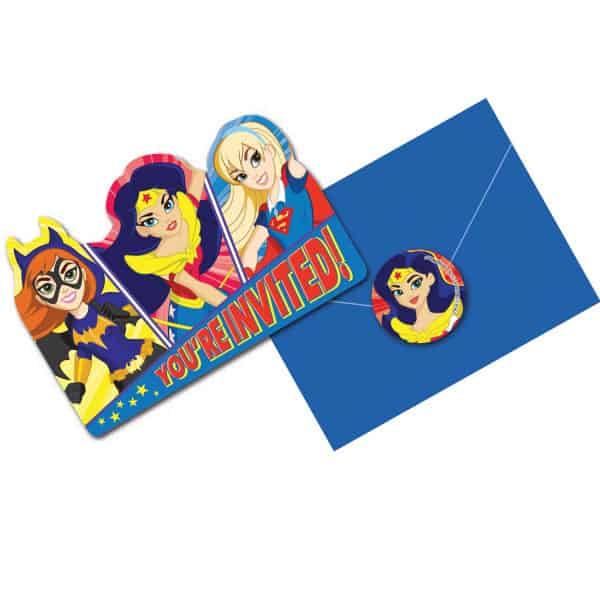DC Super Hero Girls Invitations With Envelopes - Pack of 8