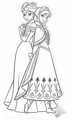 Frozen Anna & Elsa Colour-In Lifesize Cardboard Cutout - 151 cm Product Gallery Image