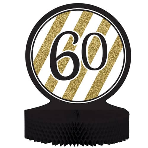 60 Black And Gold Honeycomb Centrepiece - 30cm