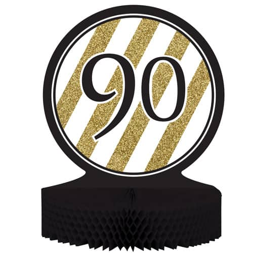 90 Black And Gold Honeycomb Centrepiece - 30cm