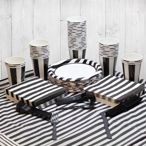 Black And White Stripe 54 Person Party Pack