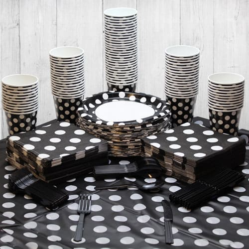 Midnight Black Decorative Dot 90 Person Party Pack