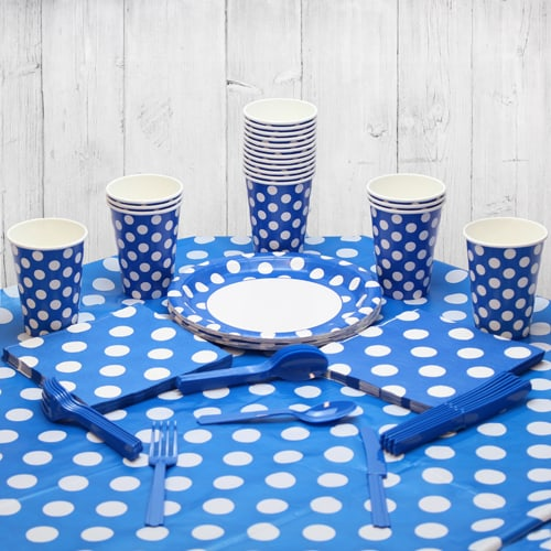 Royal Blue Decorative Dot 18 Person Party Pack