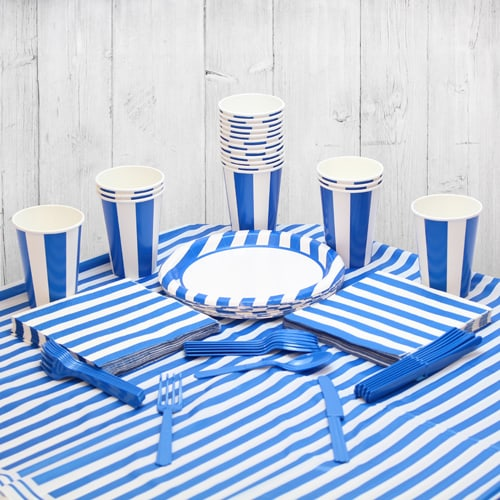 Blue And White Stripe 18 Person Party Pack  sc 1 st  Partyrama & Blue and White Stripes Theme 22cm Paper Plate | Partyrama.co.uk