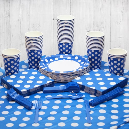 Royal Blue Decorative Dot 54 Person Party Pack Product Image