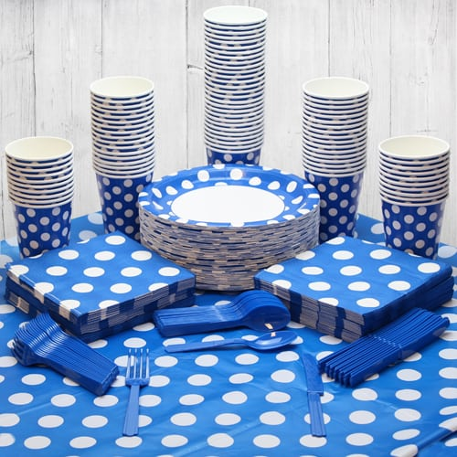 Royal Blue Decorative Dot 90 Person Party Pack
