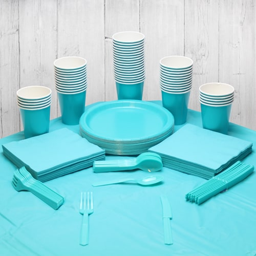 Caribbean Teal 54 Person Party Pack