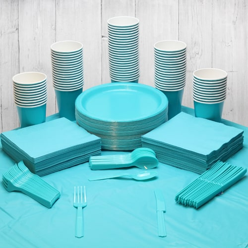Caribbean Teal 90 Person Party Pack