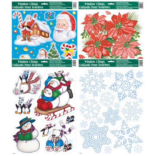 Christmas Window Clings Assorted Designs