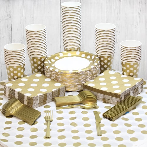 Gold Decorative Dot 90 Person Party Pack