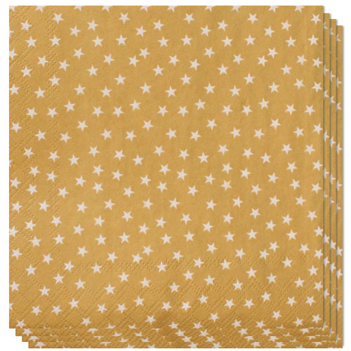 Gold With Stars And Trees Design Luncheon Napkins 3 Ply - 33cm - Pack of 20 Product Gallery Image