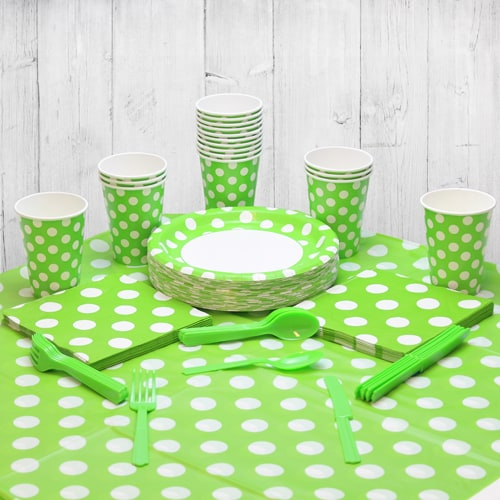 Lime Green Decorative Dot 18 Person Party Pack