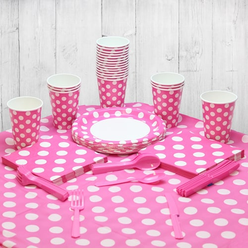 Hot Pink Decorative Dot 18 Person Party Pack