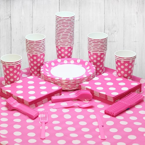 Hot Pink Decorative Dot 54 Person Party Pack