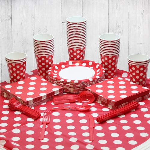 Ruby Red Decorative Dot 54 Person Party Pack