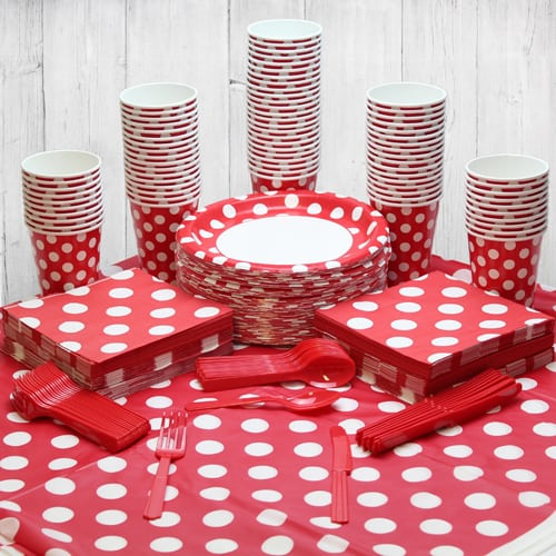 Ruby Red Decorative Dot 90 Person Party Pack