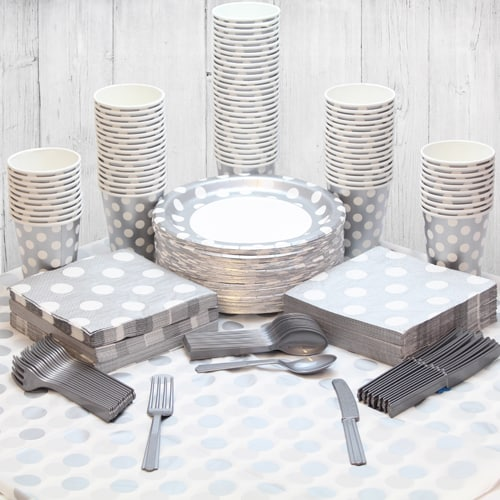 Silver Decorative Dot 90 Person Party Pack