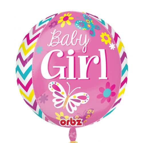 Beautiful Baby Girl Orbz Foil Helium Balloon 38cm / 15 in