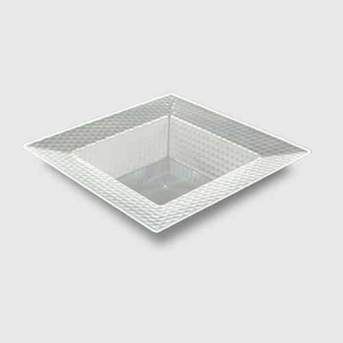 Clear Plastic Square Bowl With Hexagon Designs