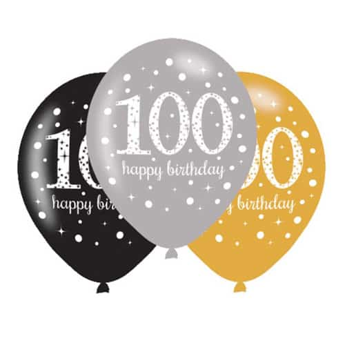 Gold Celebration Happy 100 Birthday Latex Balloons - 27cm - Pack of 6