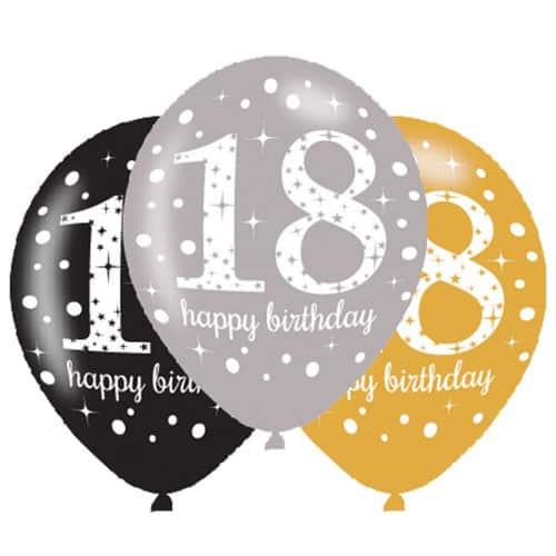 Gold Celebration Happy 18 Birthday Latex Balloons - 27cm - Pack of 6