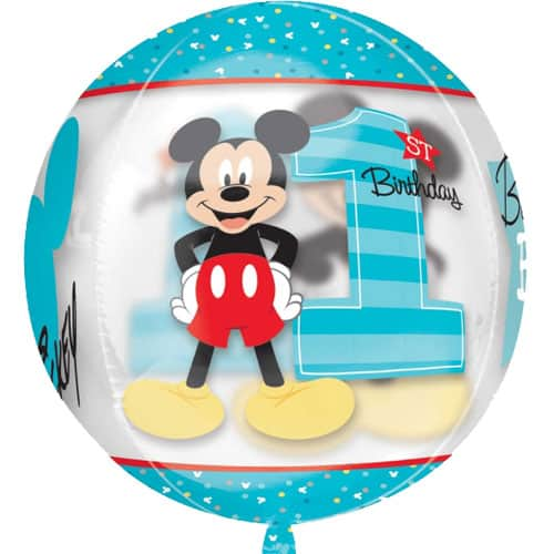 Mickey Mouse 1st Birthday Boy Clear Orbz Balloon - 38cm