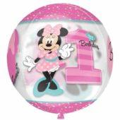 Minnie Mouse 1st Birthday Girl Clear Orbz Balloon 38cm