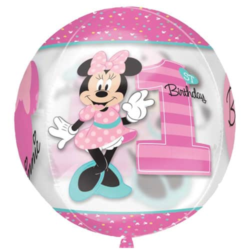 Minnie Mouse 1st Birthday Girl Clear Orbz Balloon 38cm / 15 in