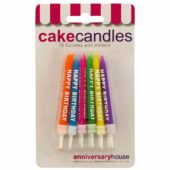 Assorted Colours Happy Birthday Party Candles With Holders – Pack of 12