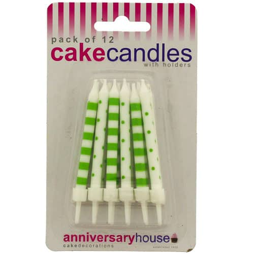green-dots-and-stripes-party-candles-with-holders-pack-of-12-product-image