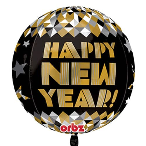 Happy New Year Orbz Balloons - 38cm