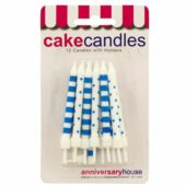 Navy Blue Dots And Stripes Party Candles With Holders – Pack of 12
