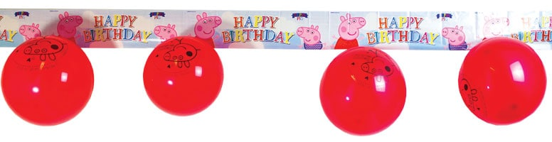 Peppa Pig Foil Banner 365cm With 5 Red Latex Balloons
